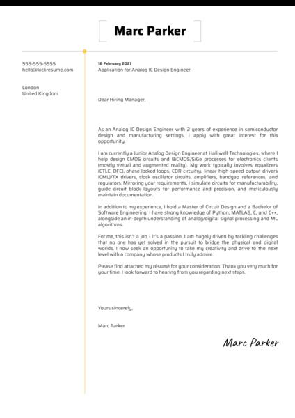 Analog IC Design Engineer Cover Letter Sample