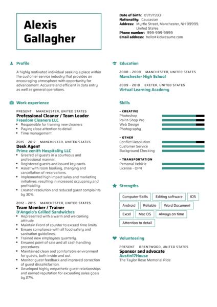 Hilton Front Desk Resume Sample