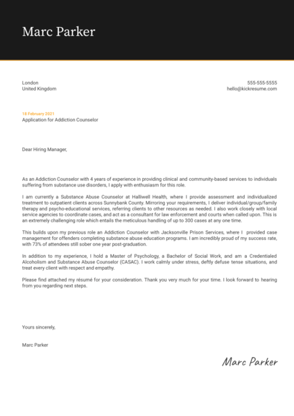 Addiction Counselor Cover Letter Sample