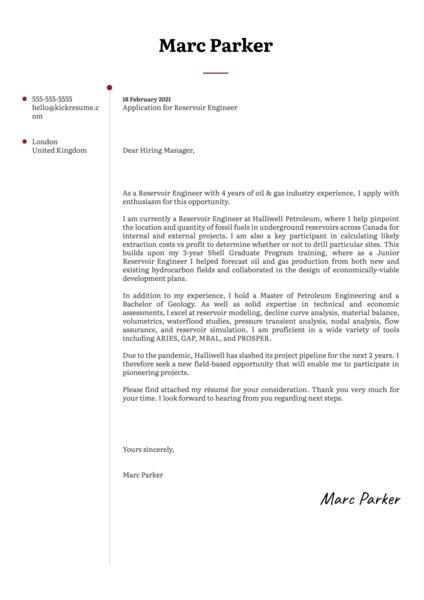 Reservoir Engineer Cover Letter Template