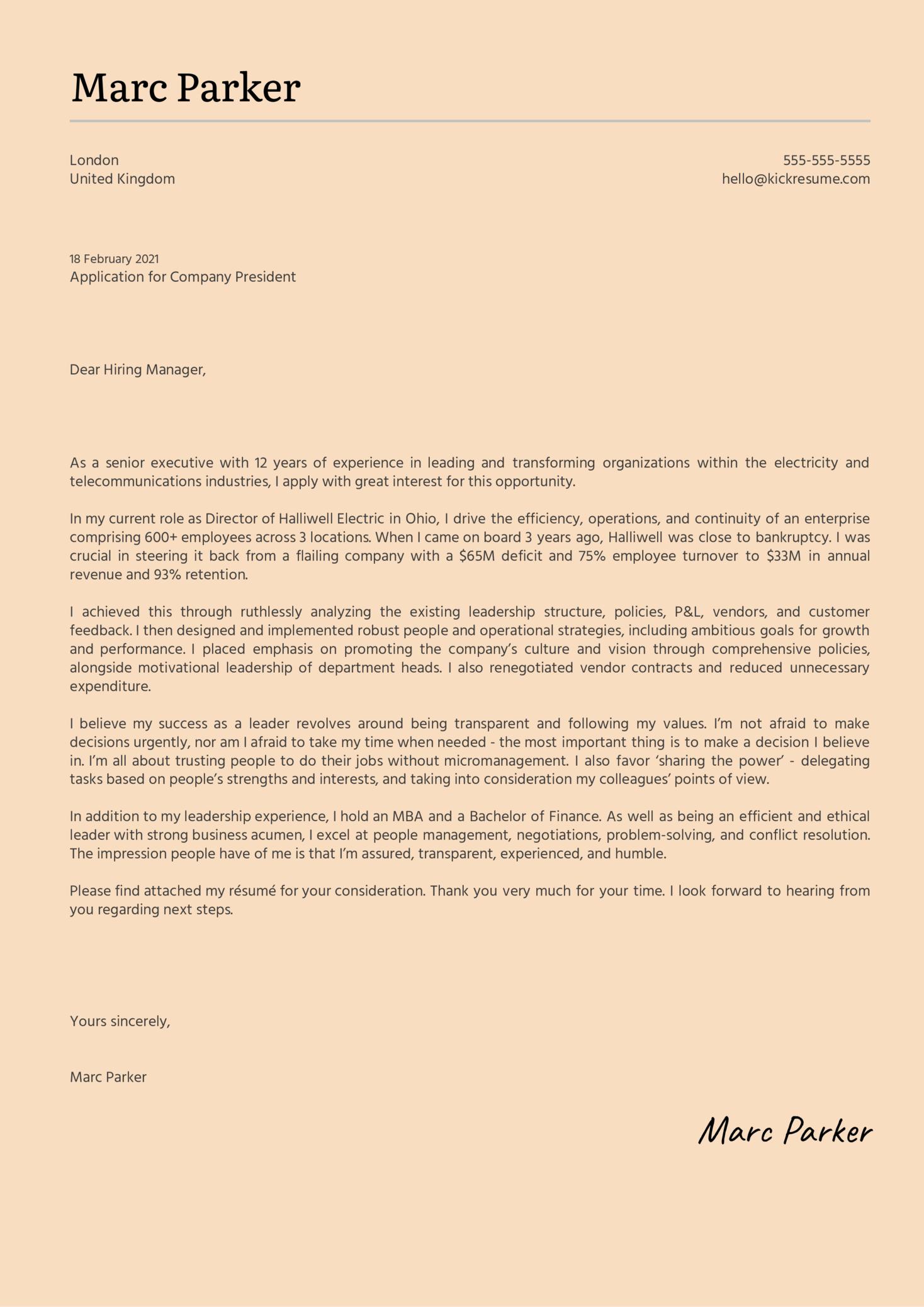President Cover Letter Template