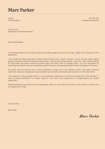 Parking Attendant Cover Letter Template