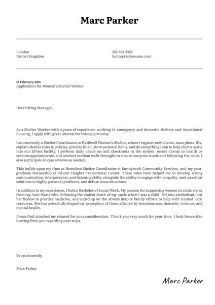 Women's Shelter Cover Letter Example