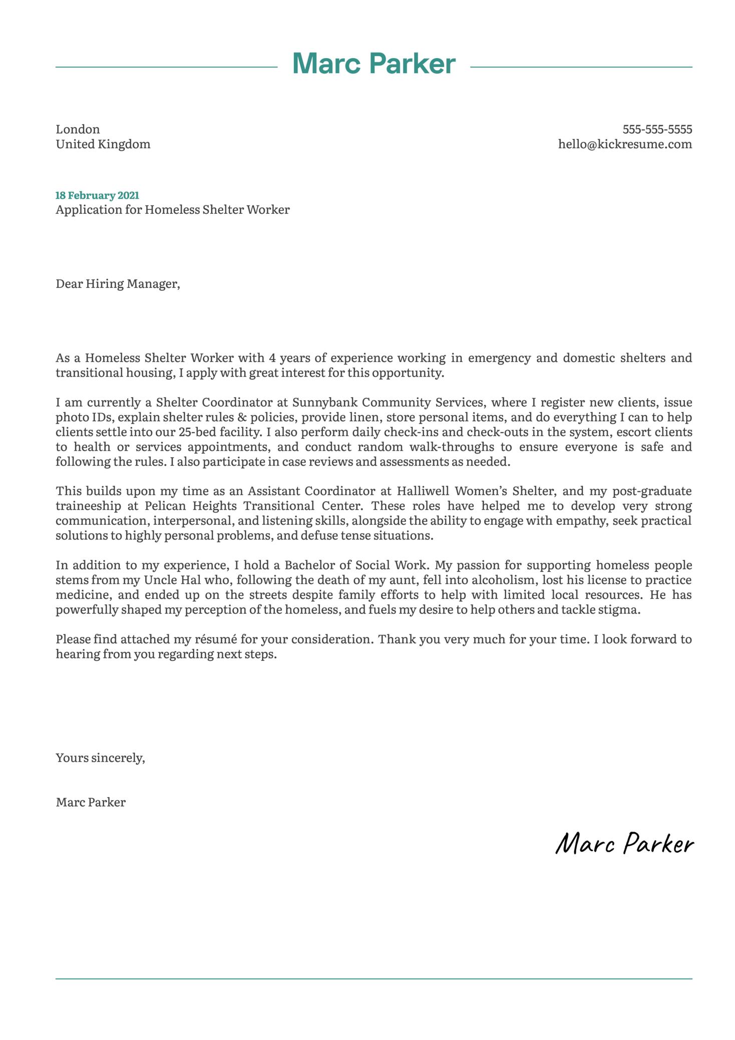 Homeless Shelter Worker Cover Letter Example