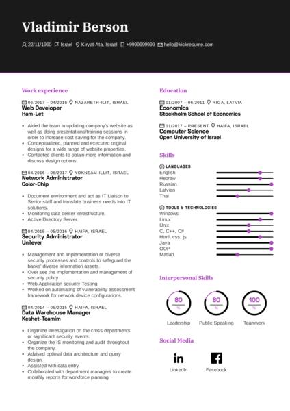 Intel IT Analyst Resume Example