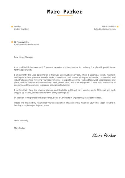 Boilermaker Cover Letter Sample