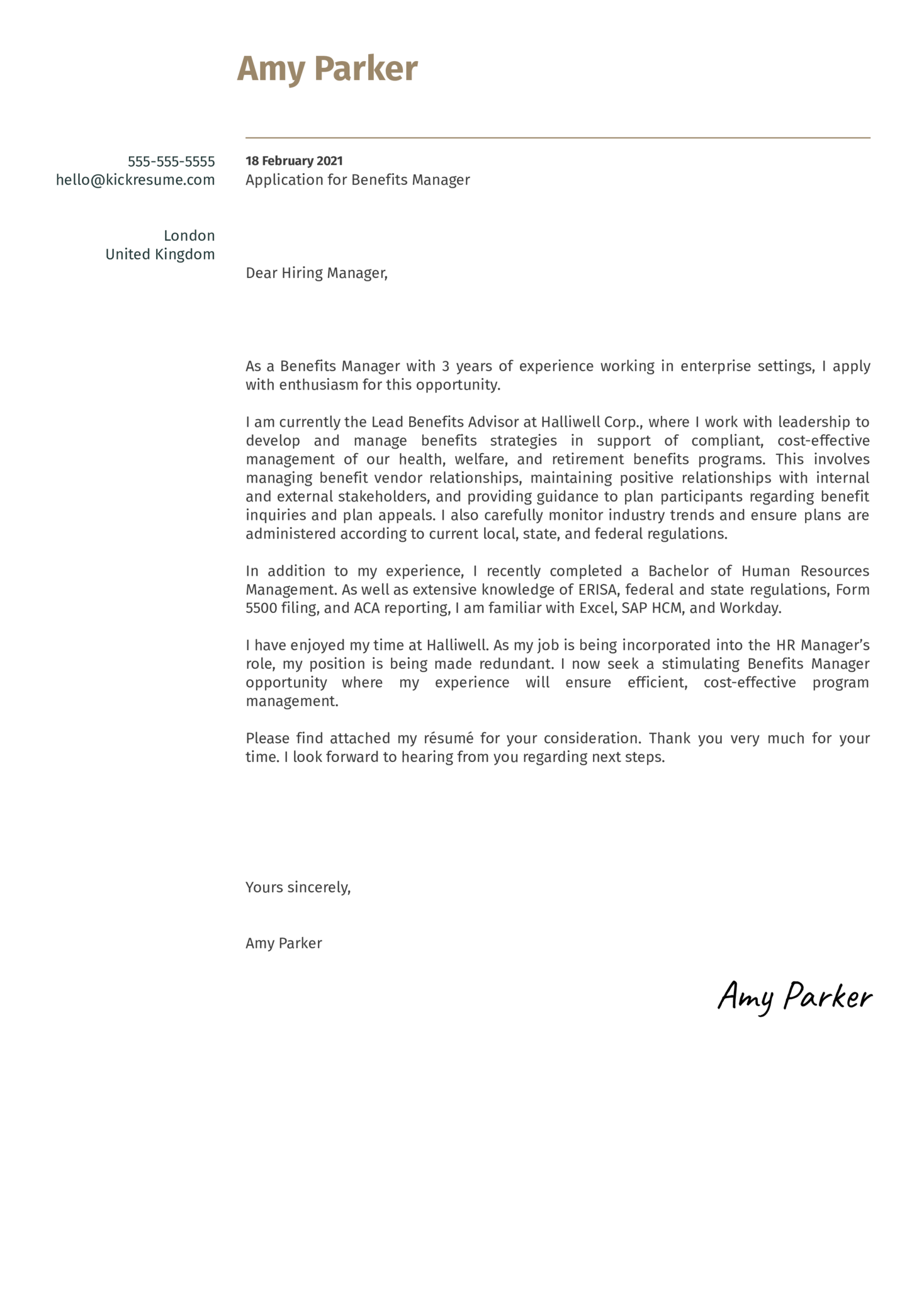 Benefits Manager Cover Letter Template