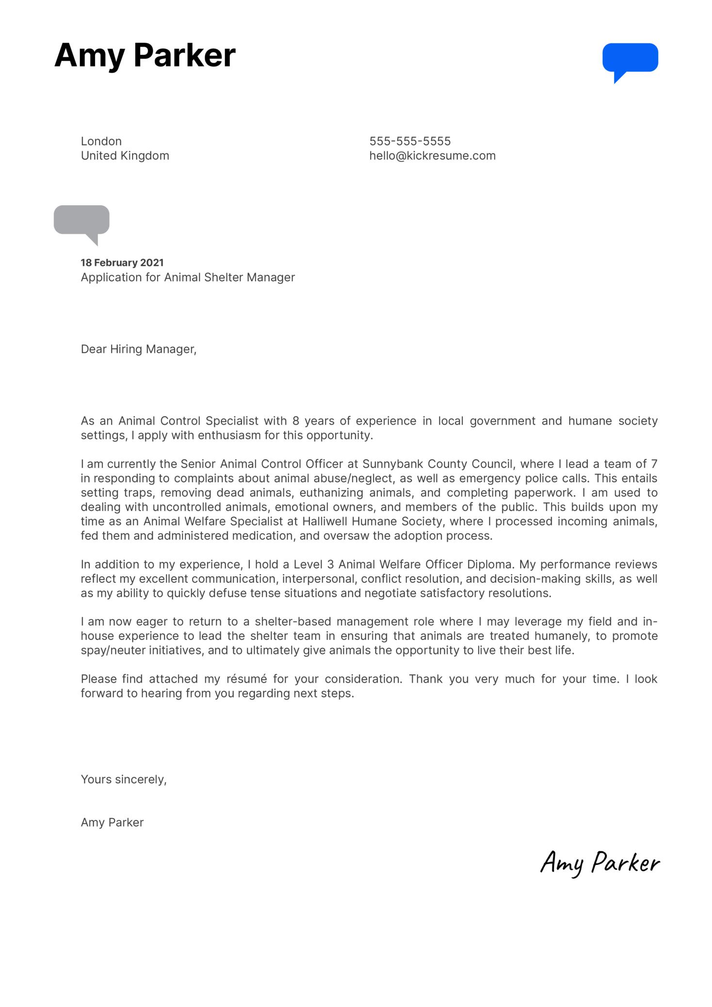 Animal Shelter Manager Cover Letter Sample