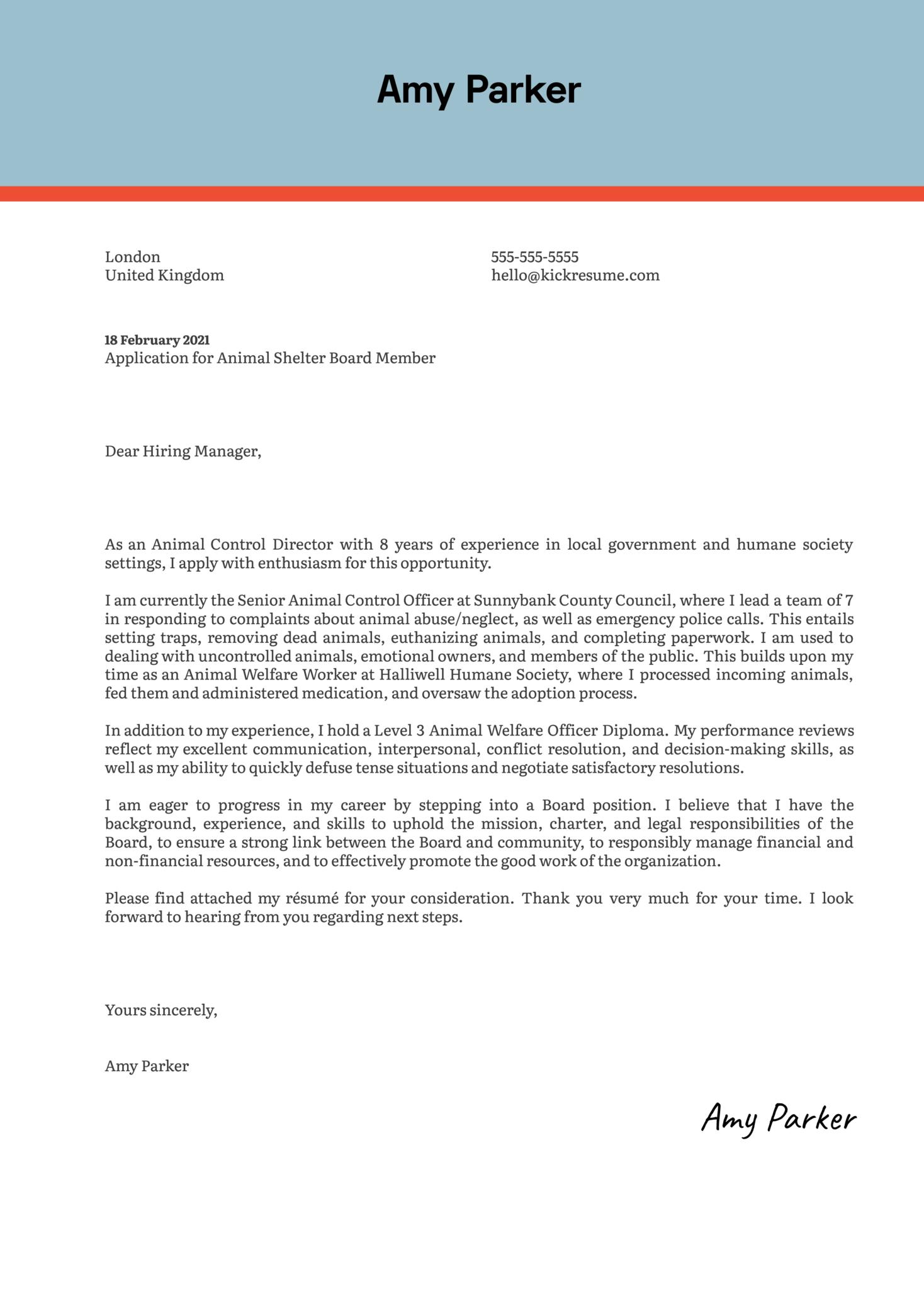 Animal Shelter Board Member Cover Letter Sample