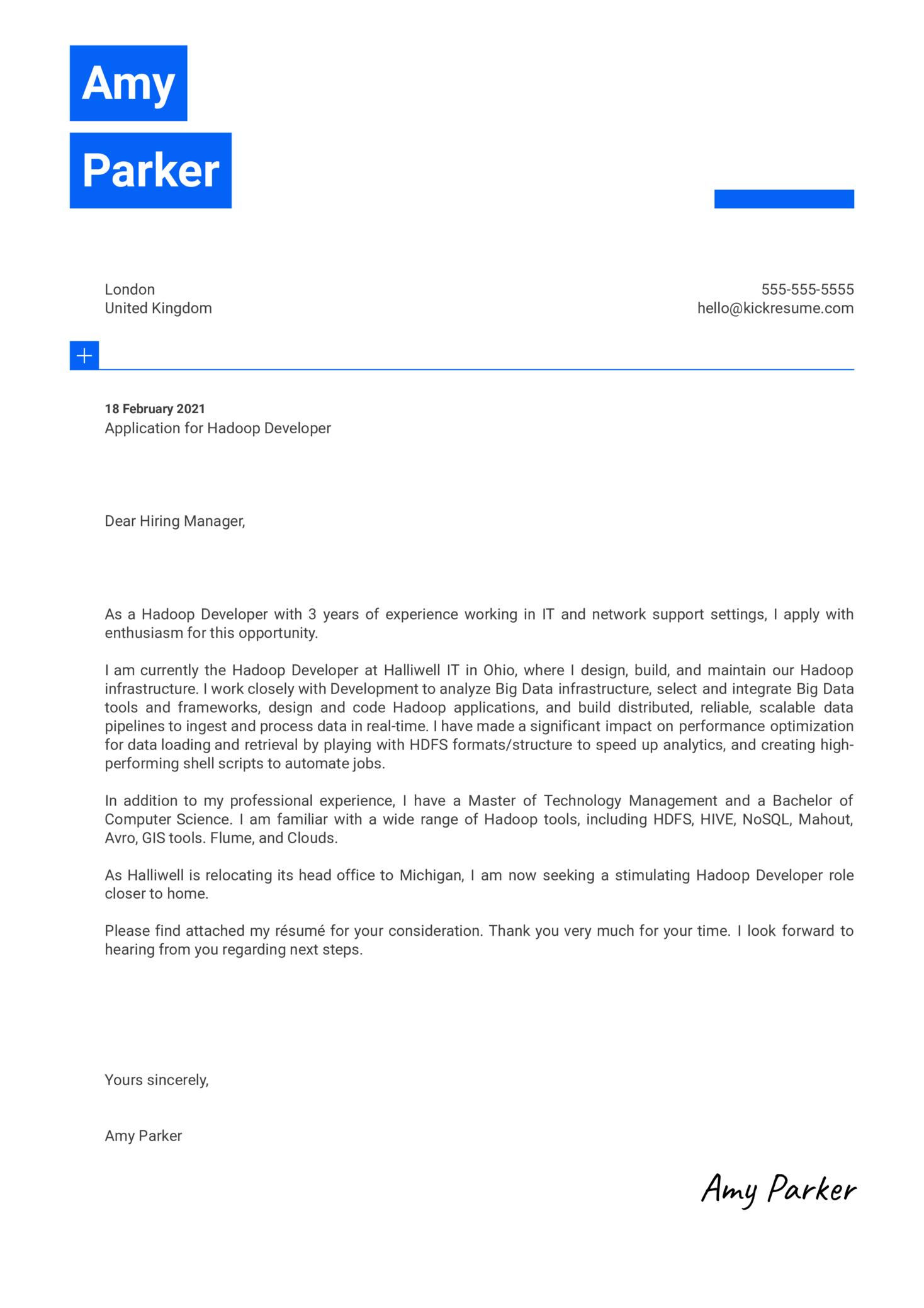 Hadoop Developer Cover Letter Template