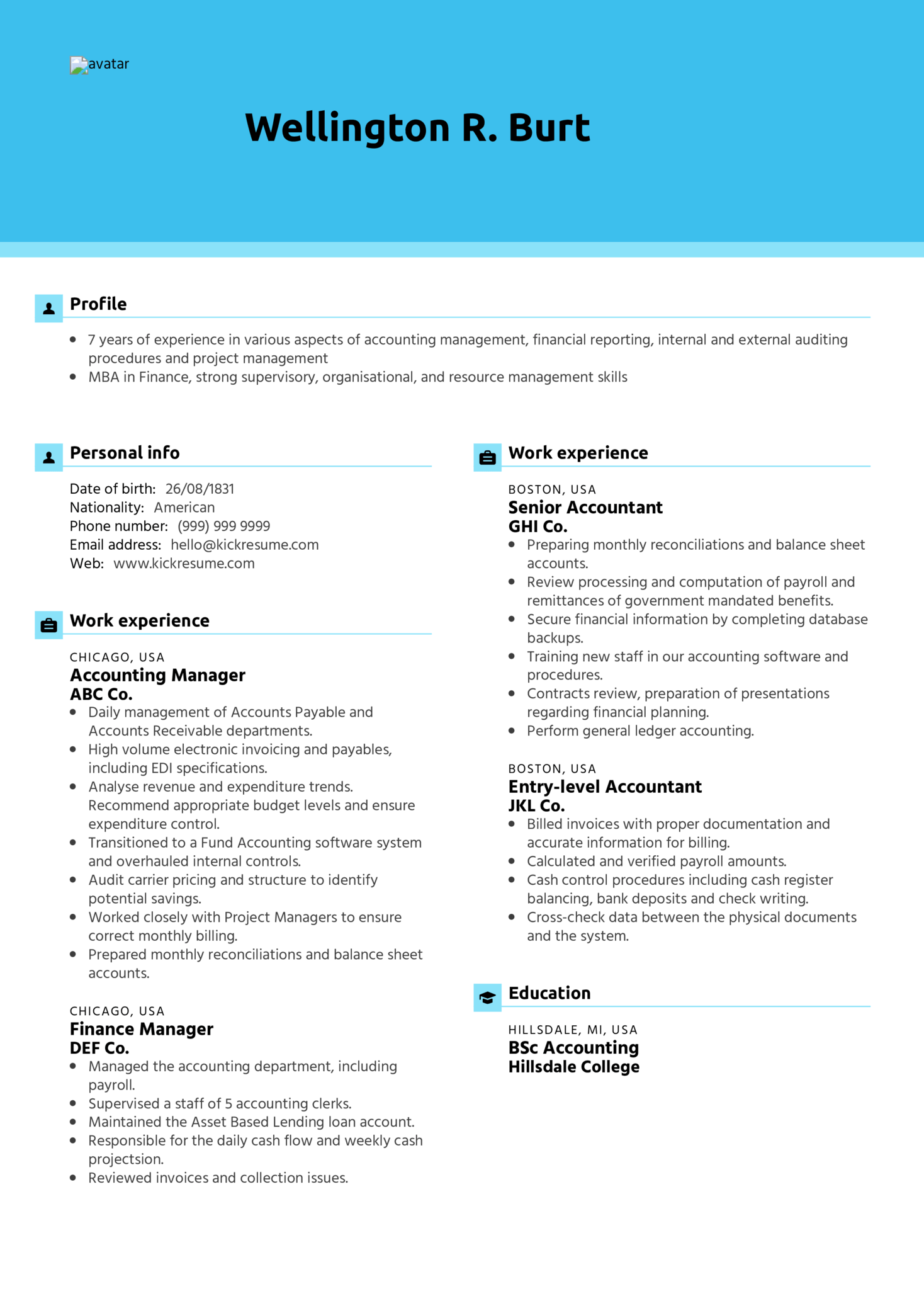 Manager Accountant Resume Sample (parte 1)
