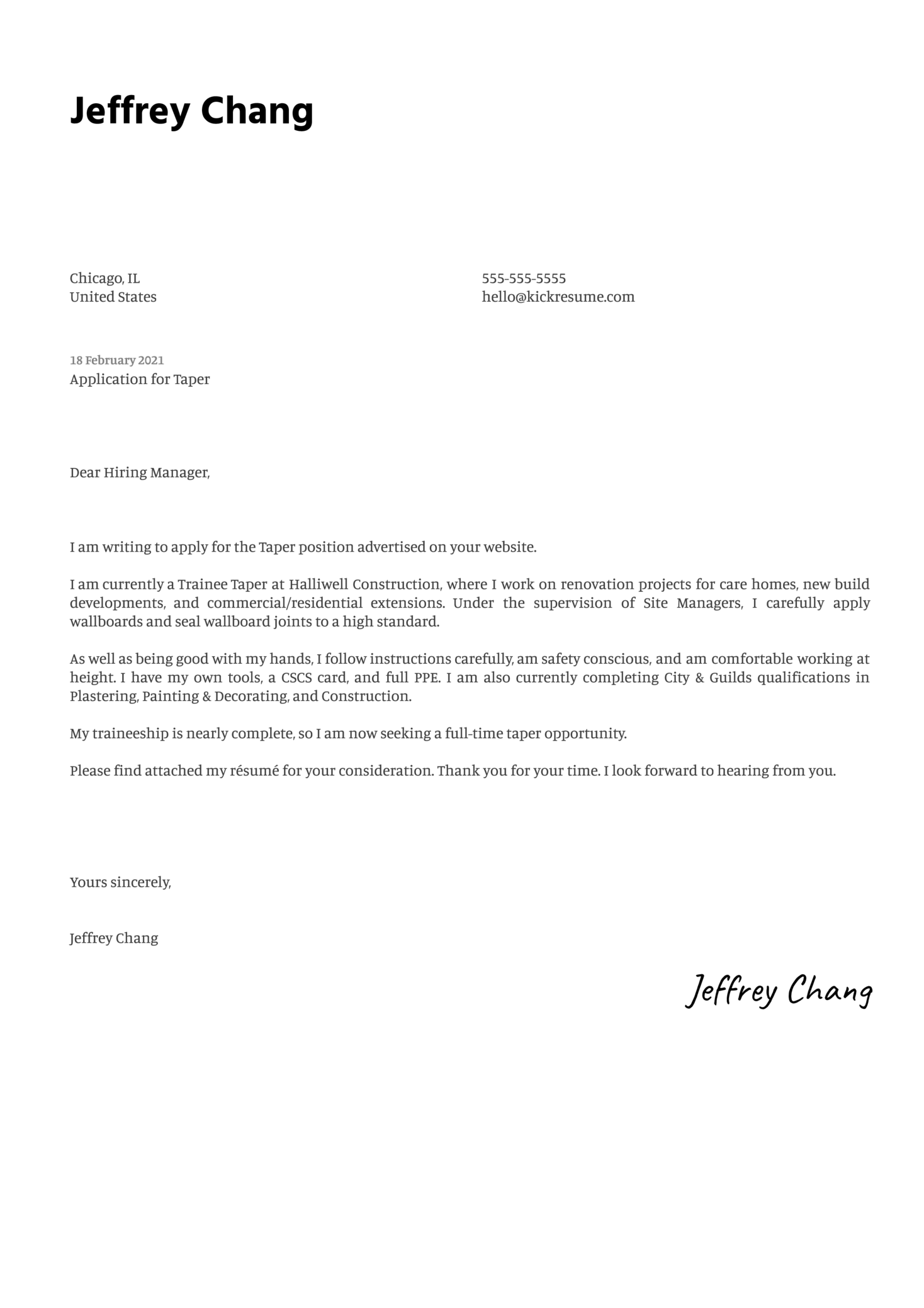 Taper Cover Letter Sample