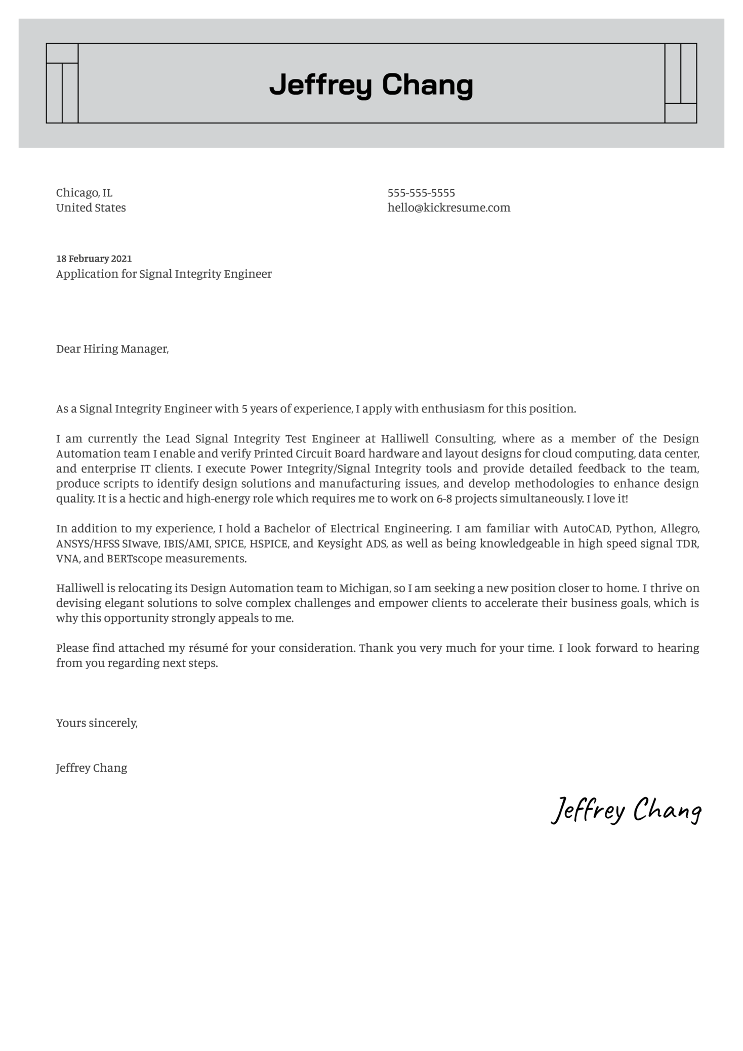 Signal Integrity Engineer Cover Letter Sample