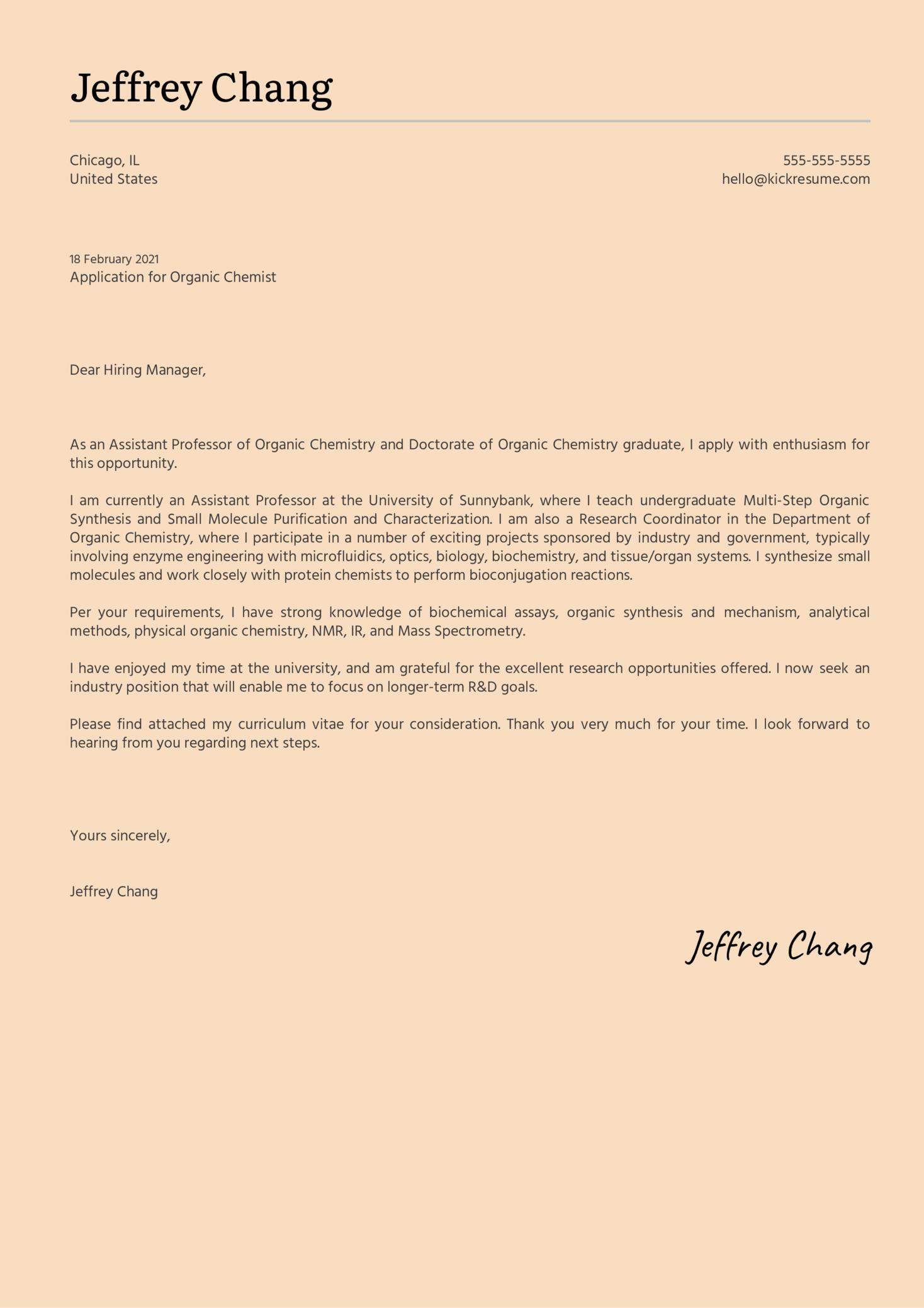Organic Chemist Cover Letter Sample