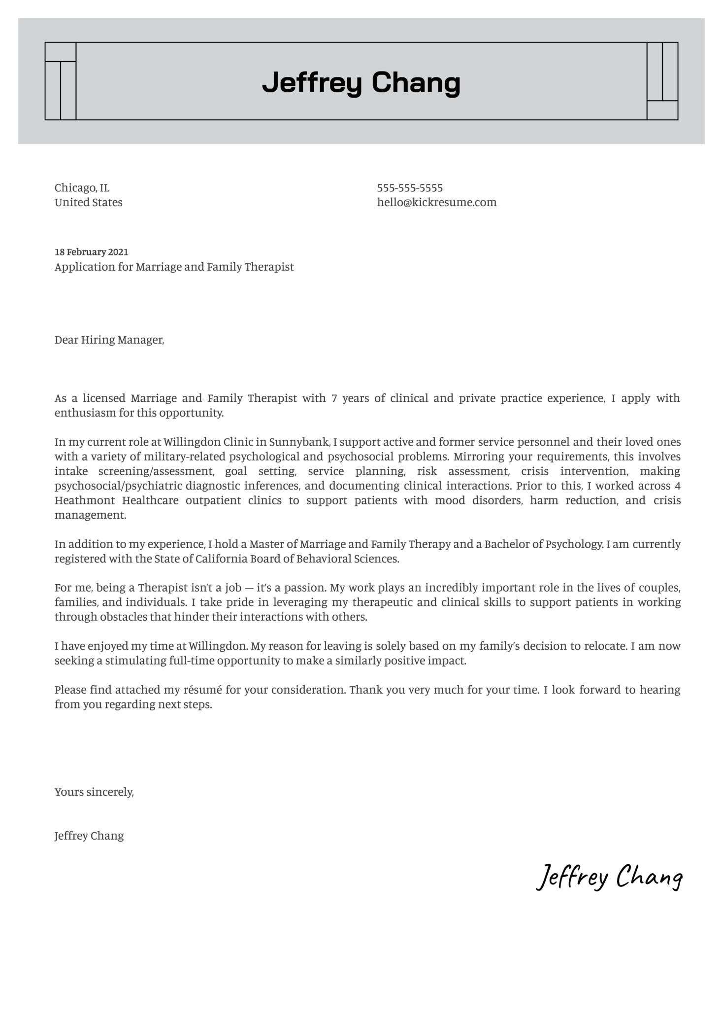 Marriage and Family Therapist Cover Letter Sample
