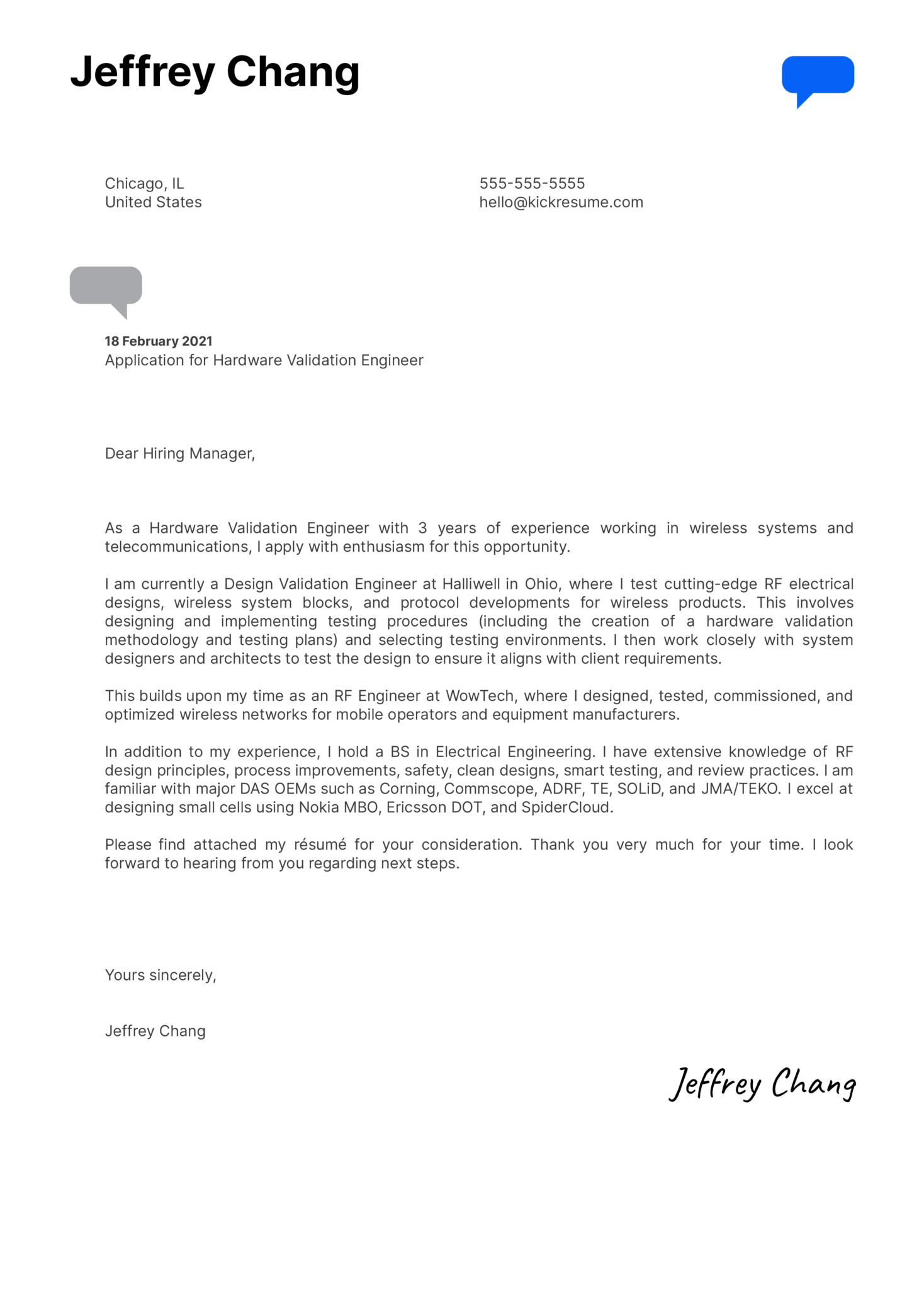 Hardware Validation Engineer Cover Letter Example