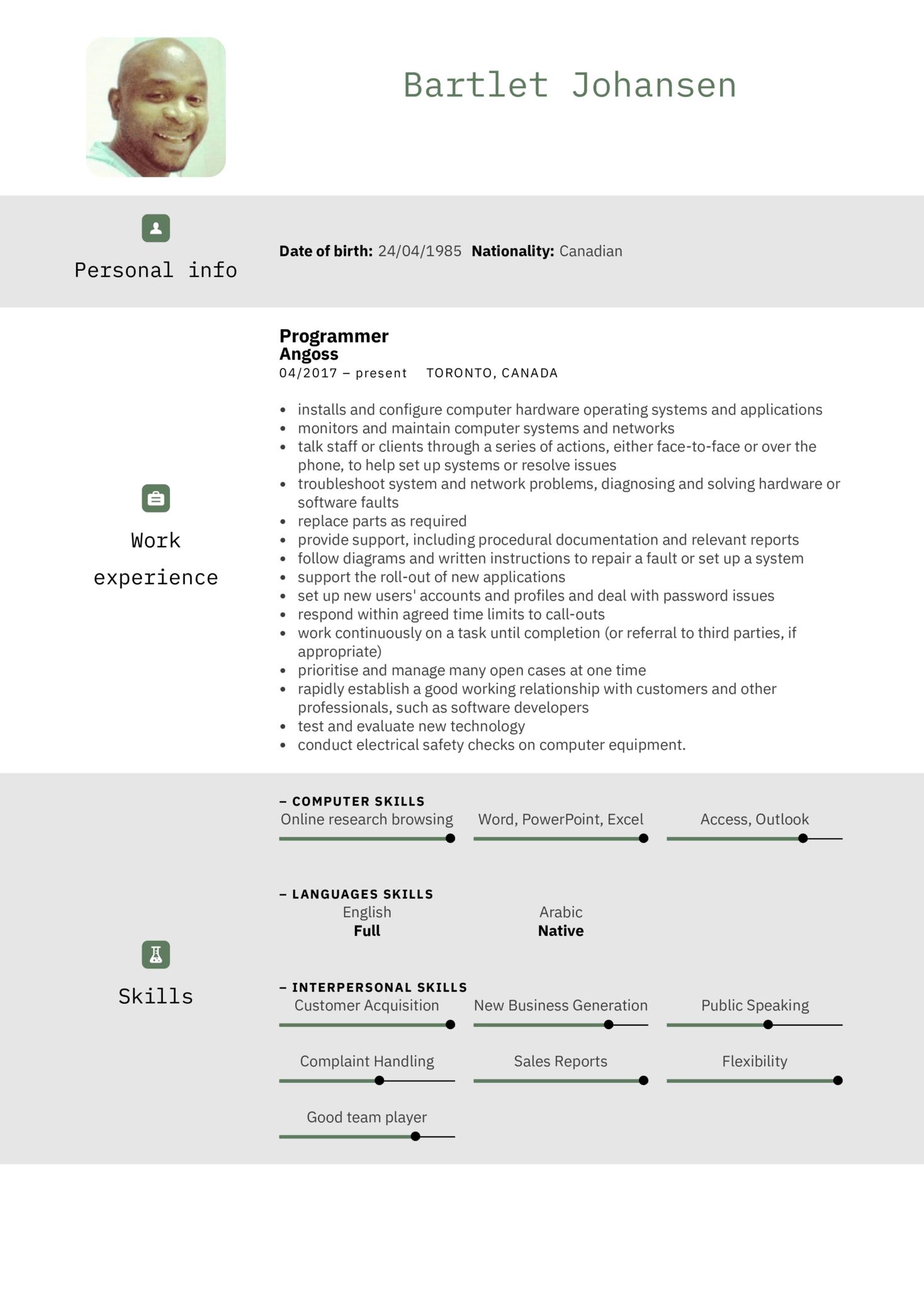 IBM IT Support Specialist Resume Example (Parte 1)