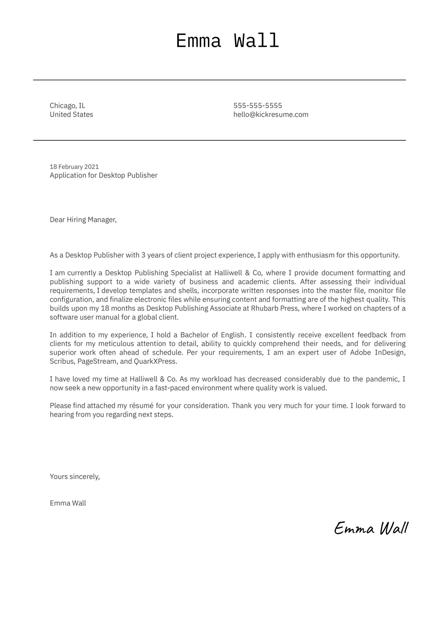 Desktop Publisher Cover Letter Sample