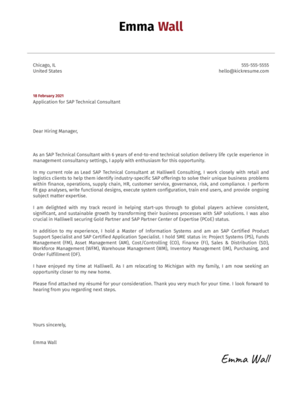 SAP Technical Consultant Cover Letter Template
