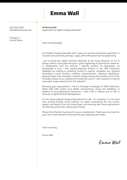 Digital Imaging Specialist Cover Letter Template