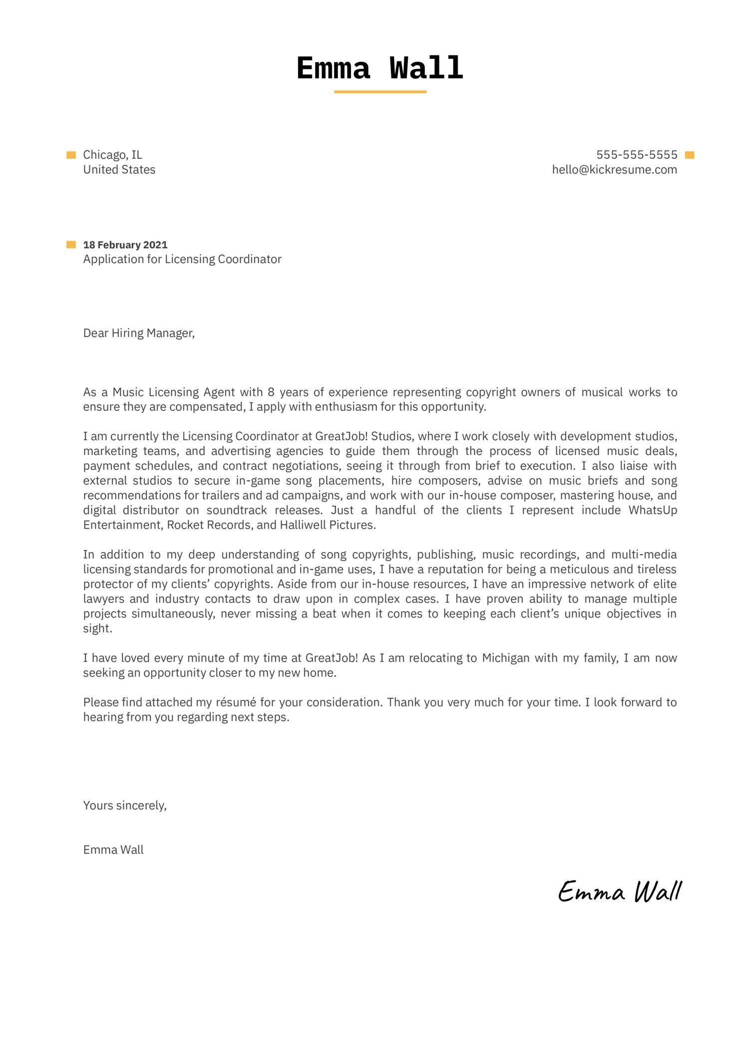 Licensing Coordinator Cover Letter Sample