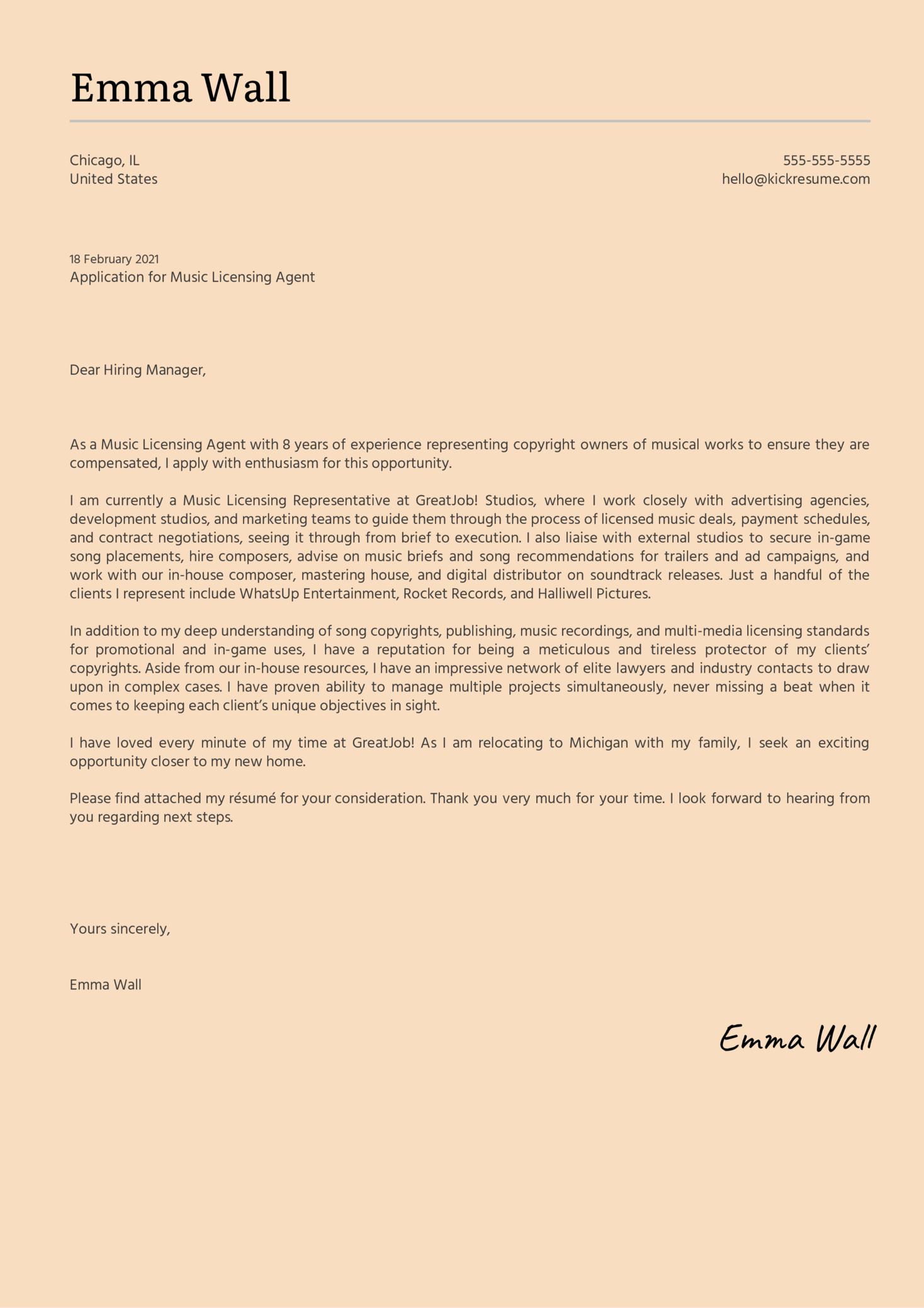 Music Licensing Agent Cover Letter Sample