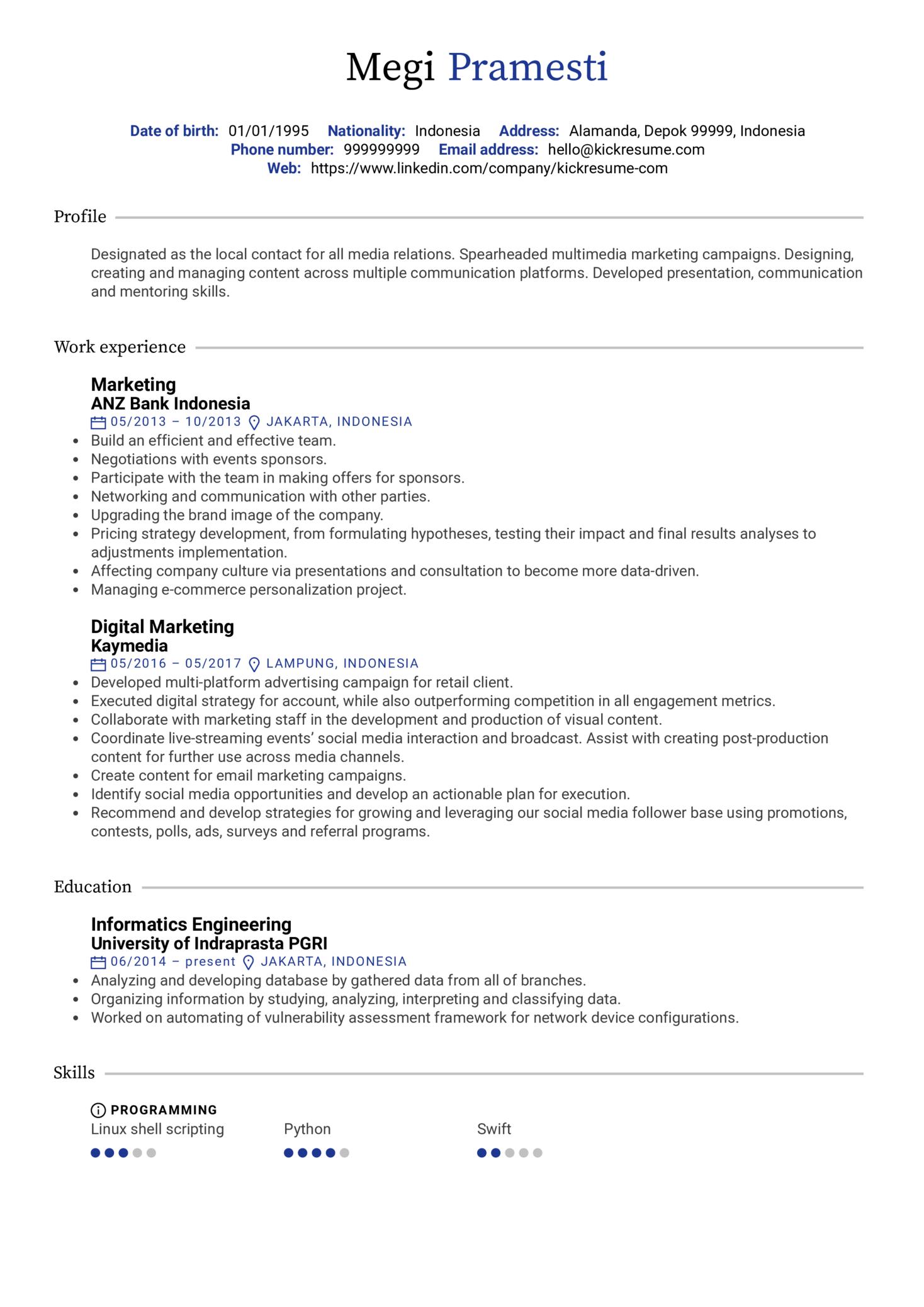 Digital Marketing Resume Sample (Part 1)