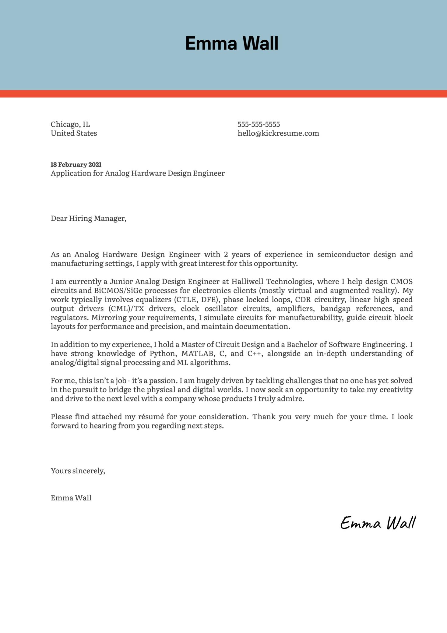 Analog Hardware Design Engineer Cover Letter Sample