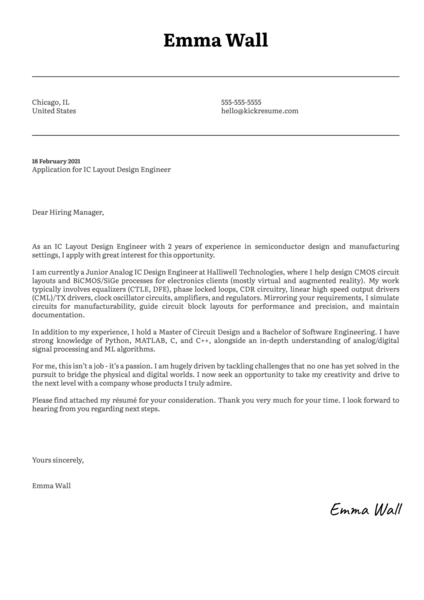 IC Layout Design Engineer Cover Letter Sample
