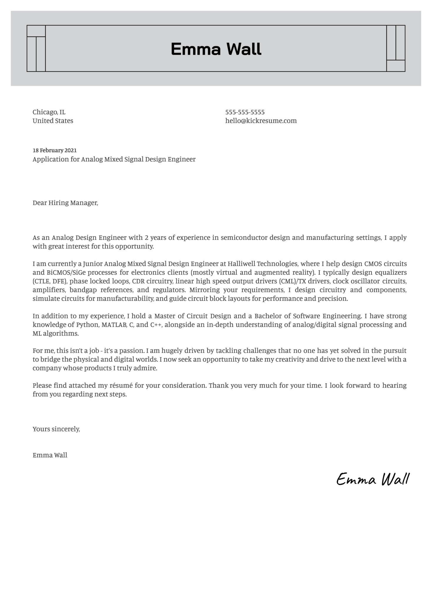 Analog Mixed Signal Design Engineer Cover Letter Sample