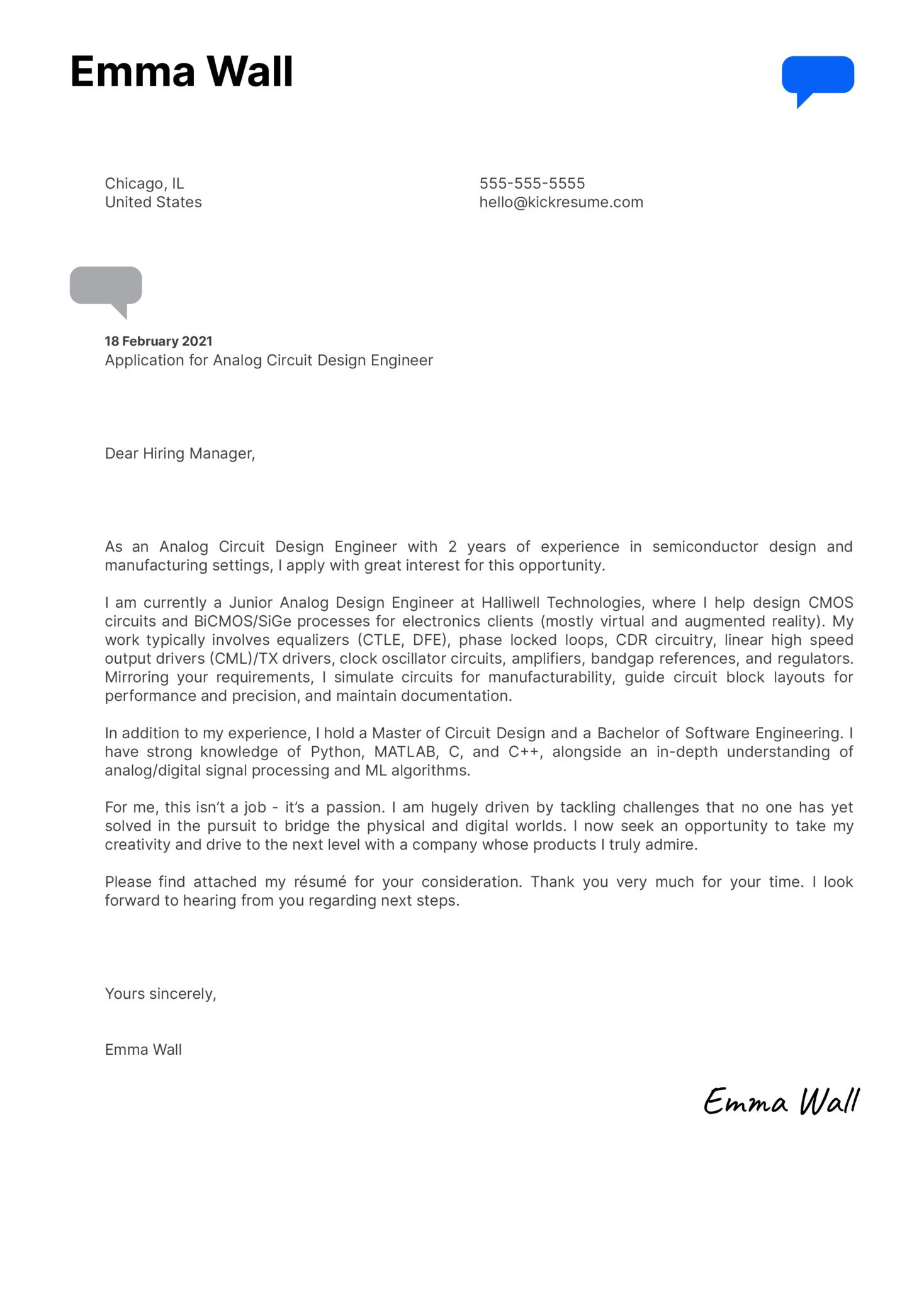 Analog Circuit Design Engineer Cover Letter Sample
