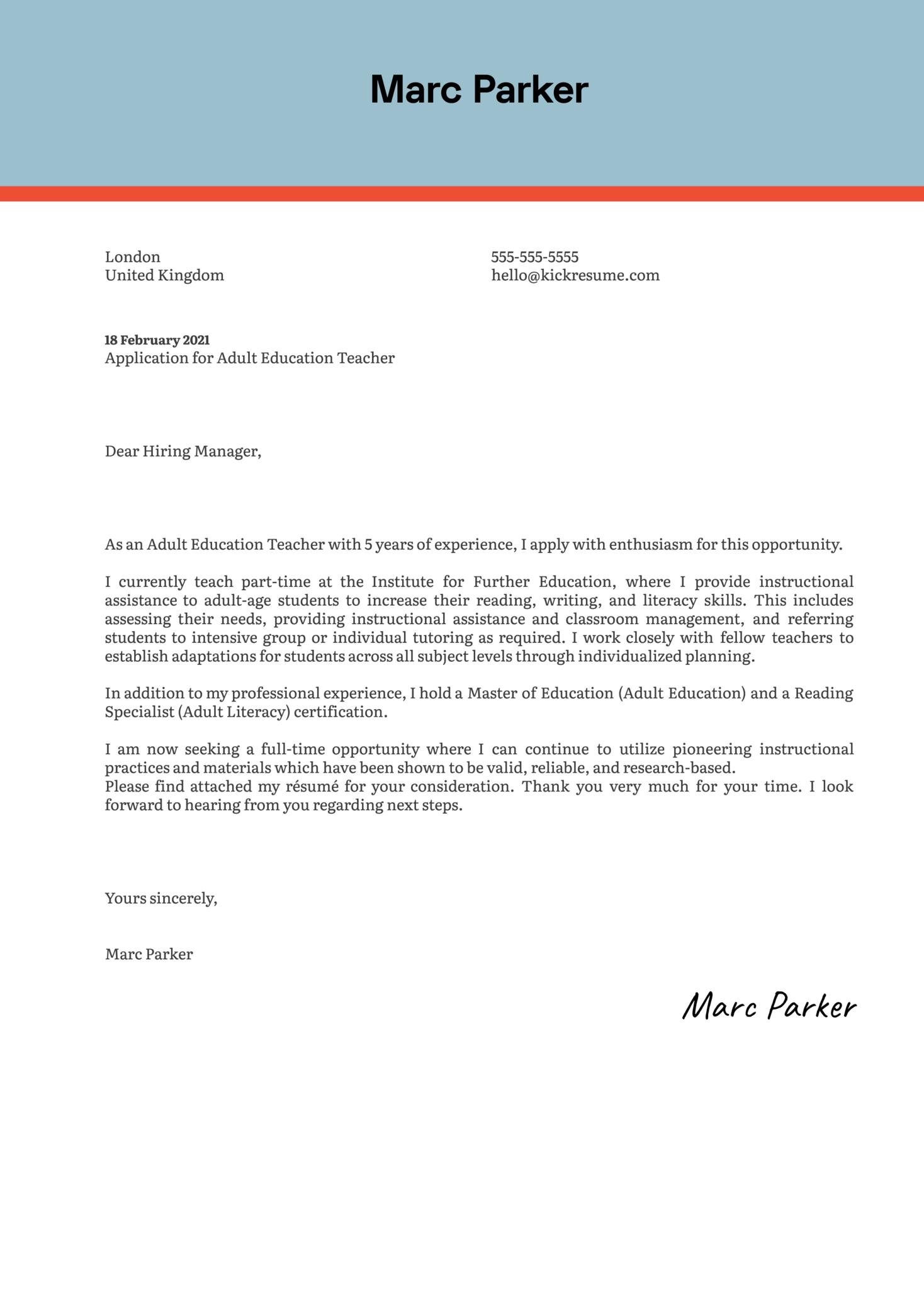 Adult Education Teacher Cover Letter Sample