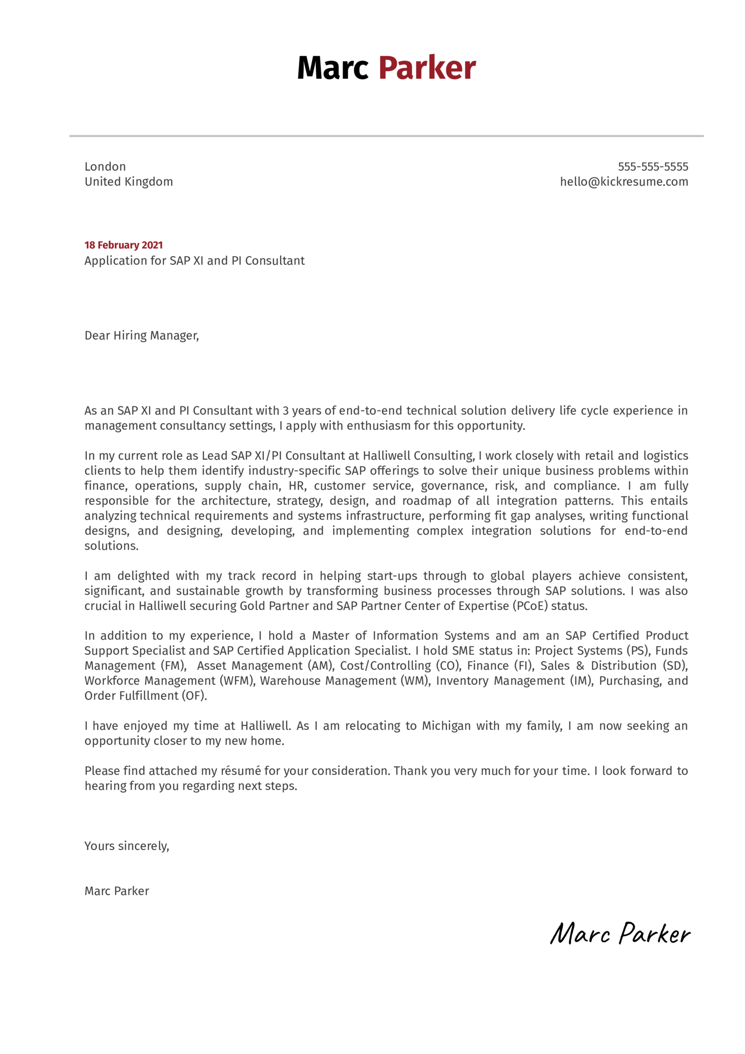 SAP XI and PI Consultant Cover Letter Template