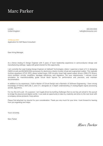 Senior Analog IC Design Engineer Cover Letter Template