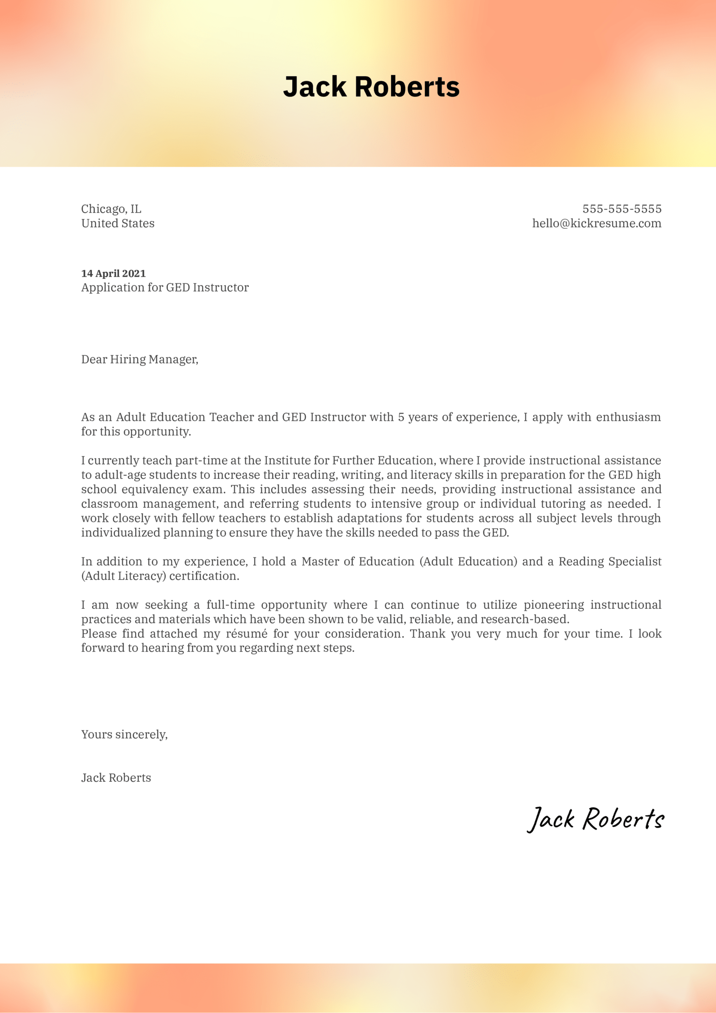 GED Instructor Cover Letter Example