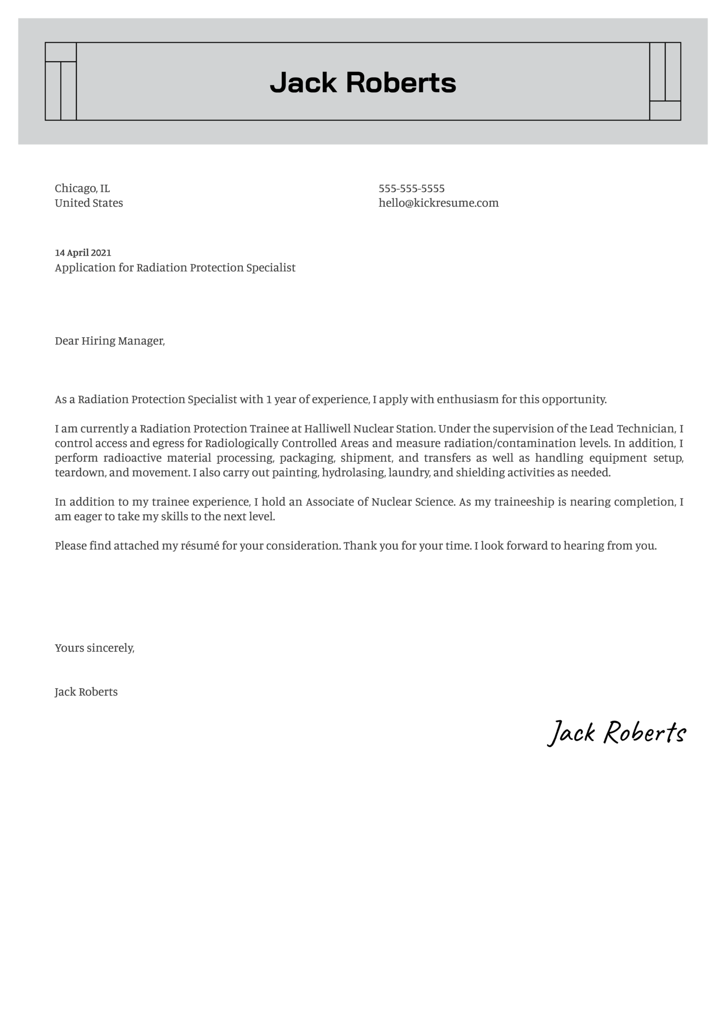 Radiation Protection Technician Cover Letter Template