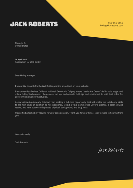 Well Driller Cover Letter Sample