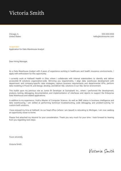 Data Warehouse Analyst Cover Letter Example