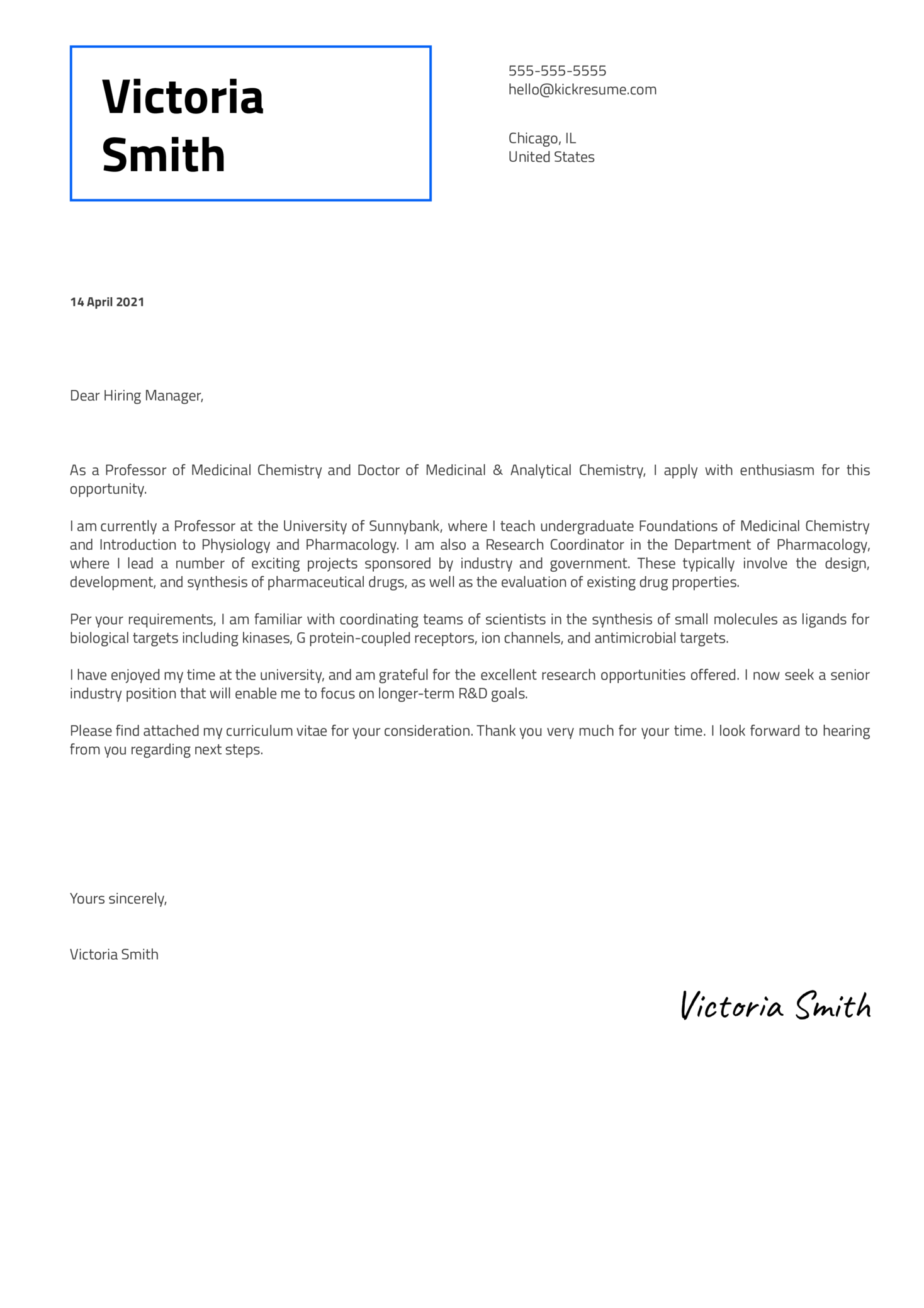 Senior Scientist Medicinal Chemistry Cover Letter Sample