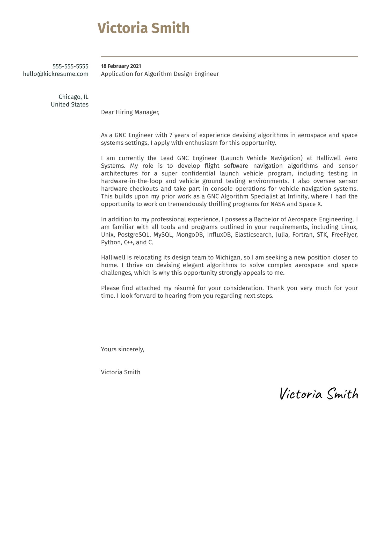 Algorithm Design Engineer Cover Letter Example