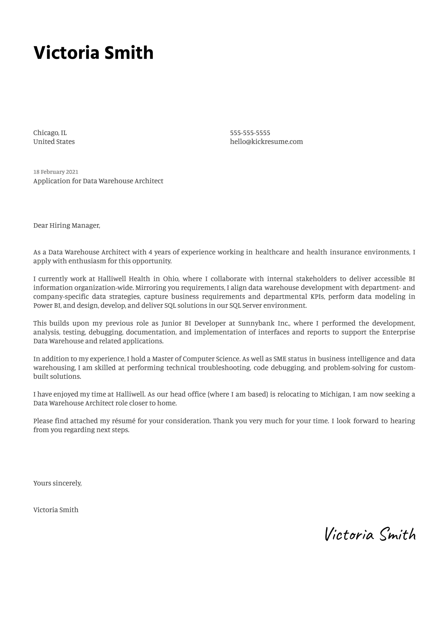 Data Warehouse Architect Cover Letter Template