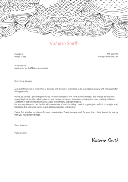 Staff Piano Accompanist Cover Letter Template