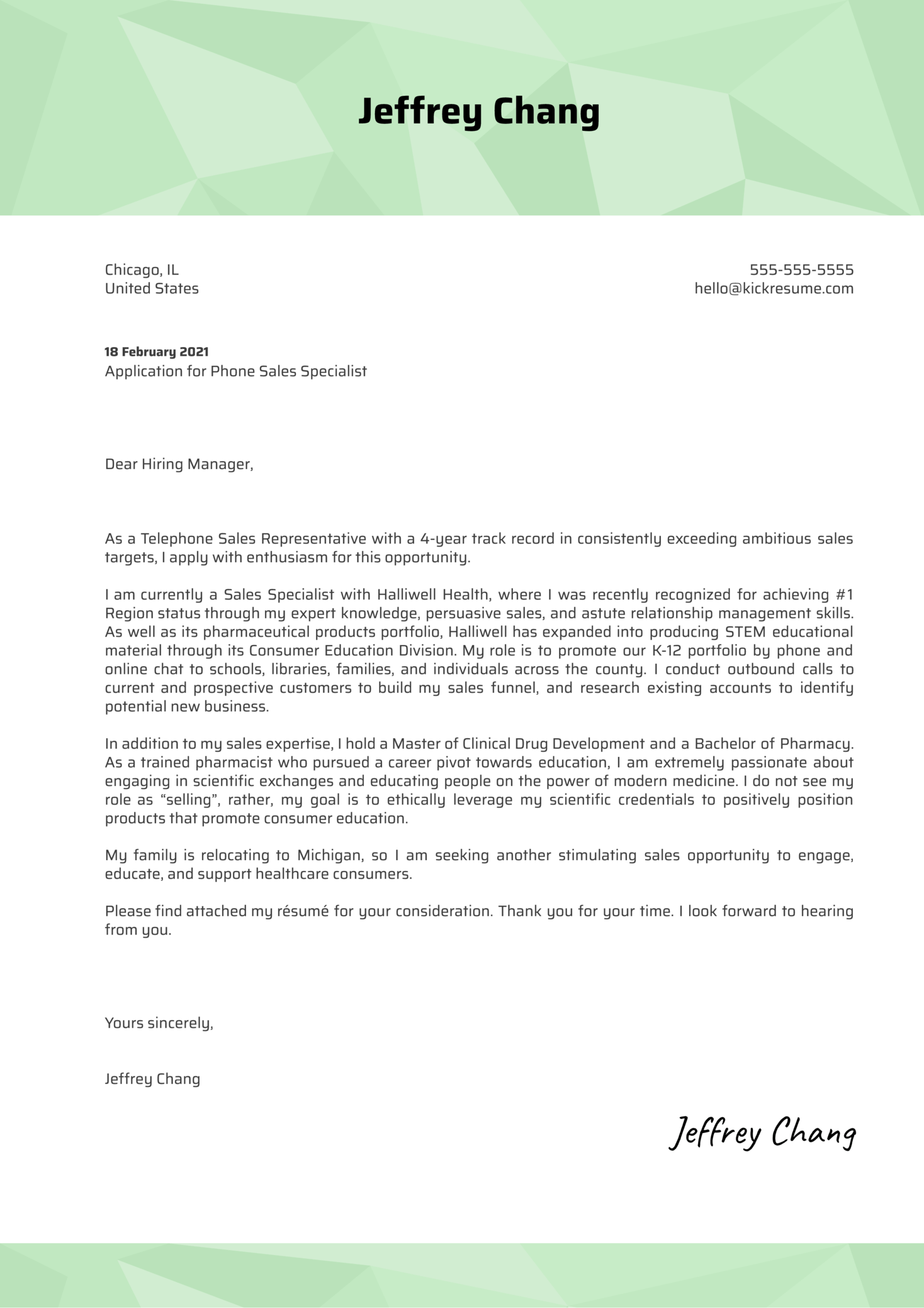Phone Sales Specialist Cover Letter Example