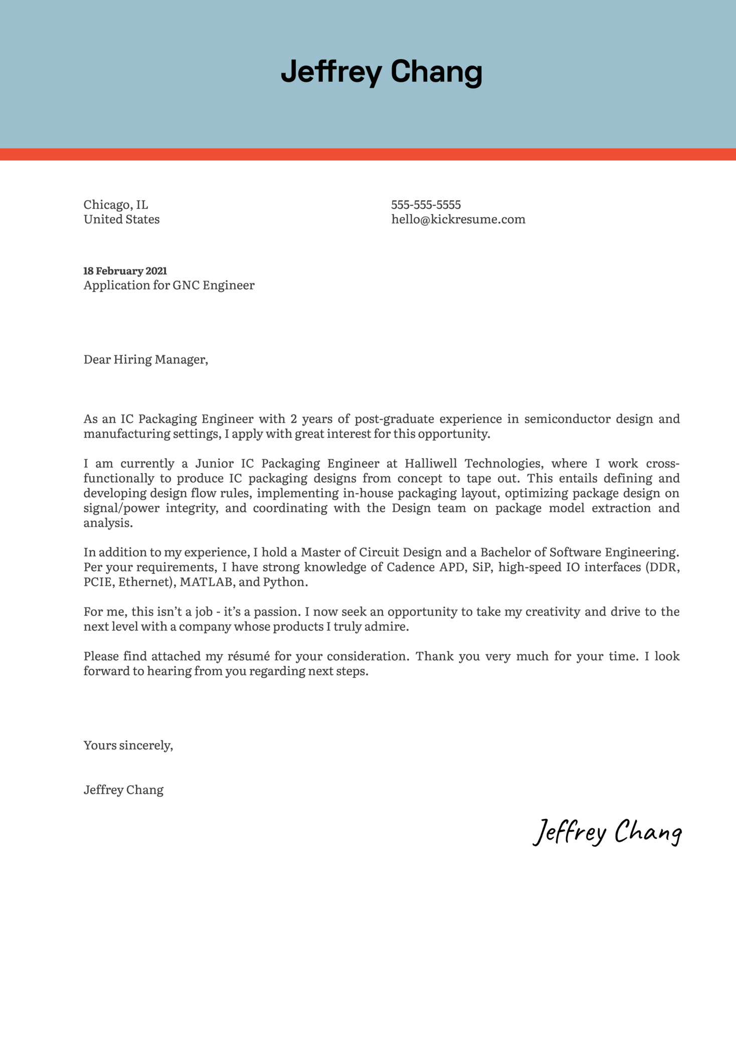 IC Packaging Engineer Cover Letter Template