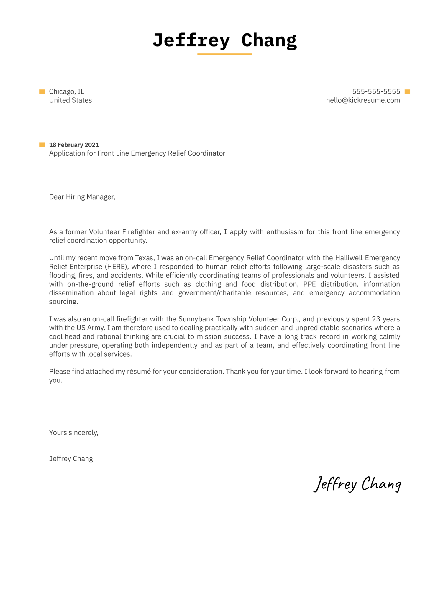 Front Line Employee Cover Letter Template