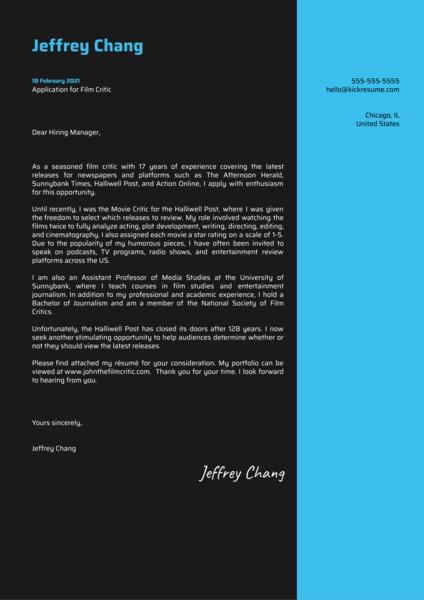 Film Critic Cover Letter Sample