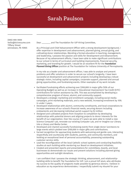 Planned Giving Officer Cover Letter Example
