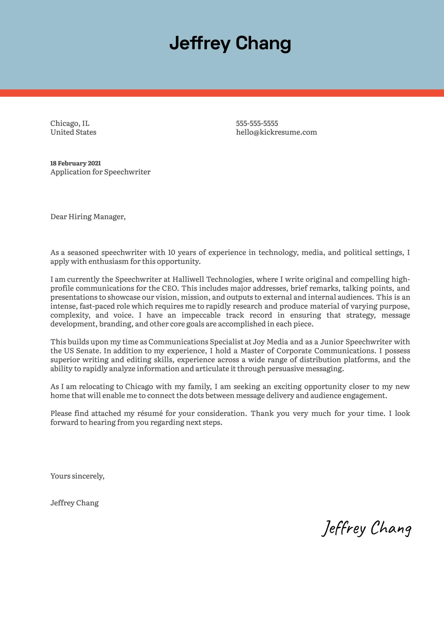 Speechwriter Cover Letter Sample