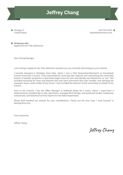 Title Abstractor Cover Letter Sample