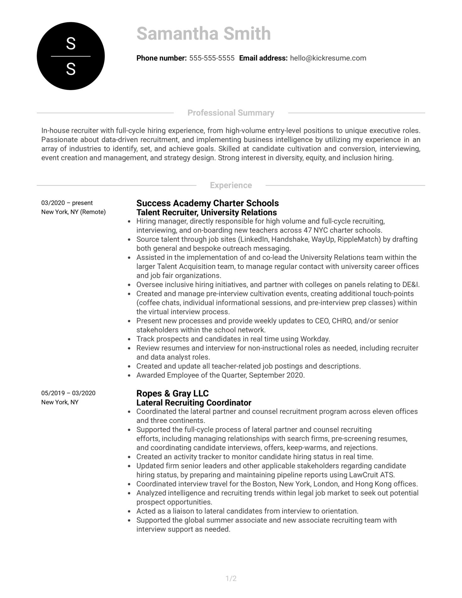 Recruiter at RapidSOS Resume Sample (Parte 1)